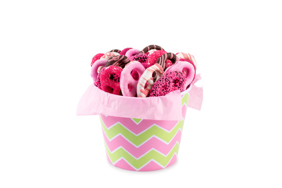 Chocolate Dipped Pretels-Pink-Large