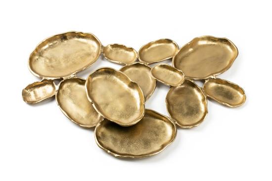 "Twelve Gold Oval Bowls Centerpiece-28"""