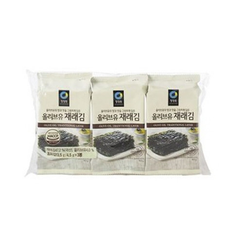 CHUNGJUNGWON Olive Oil Grilled Laver Mini 3 Pack (5g*3)*15