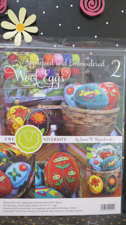 Appliqued & Embroidered Wool Eggs  (set # 2 making 5 eggs)