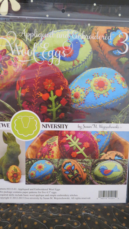 Appliqued & Embroidered Wool Eggs  (set # 3 making 5 eggs)