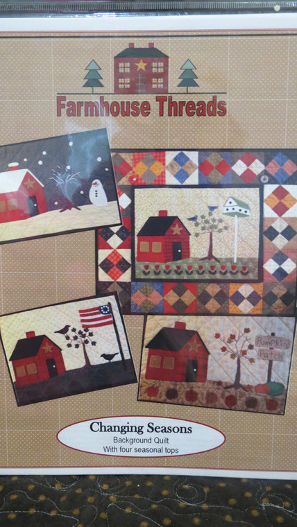 Changing Seasons - background quilt with 4 seasonal tops