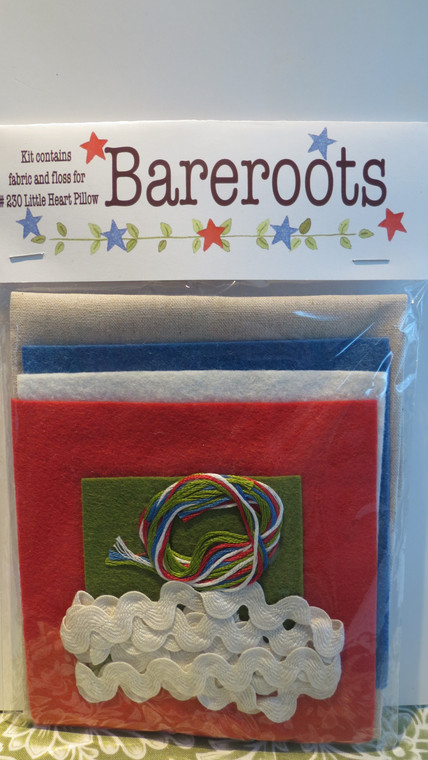 Kit for #230 Little Heart Pillow (pattern is not included - see Bareroots Americana Pillow)