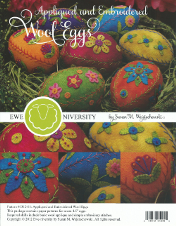 Appliqued & Embroidered Wool Eggs  (set # 1 making 7 eggs)