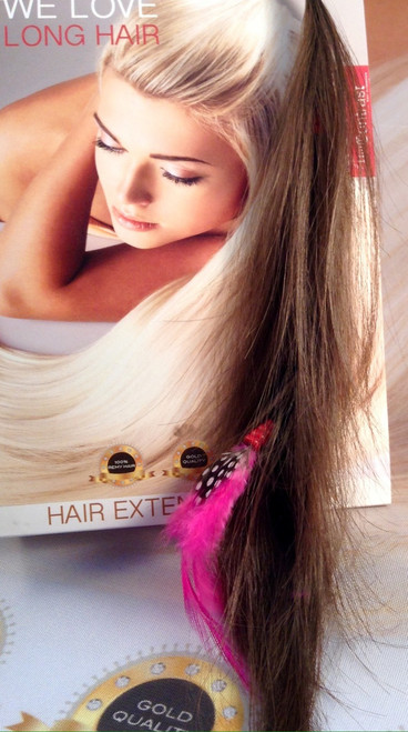 clip on hair and feather.