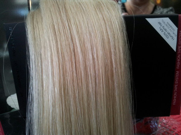Connecting Hair /100% Human Remy Hair - 45cm length - 10x6cm wide strips.