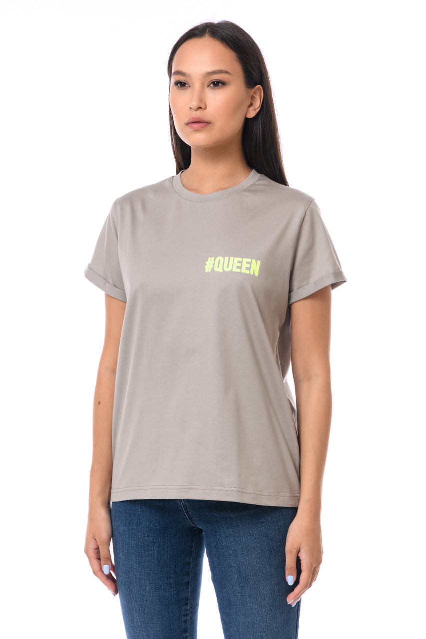 """""""#QUEEN"""" T-shirt with shiny inscription  SEVEN LAB"""
