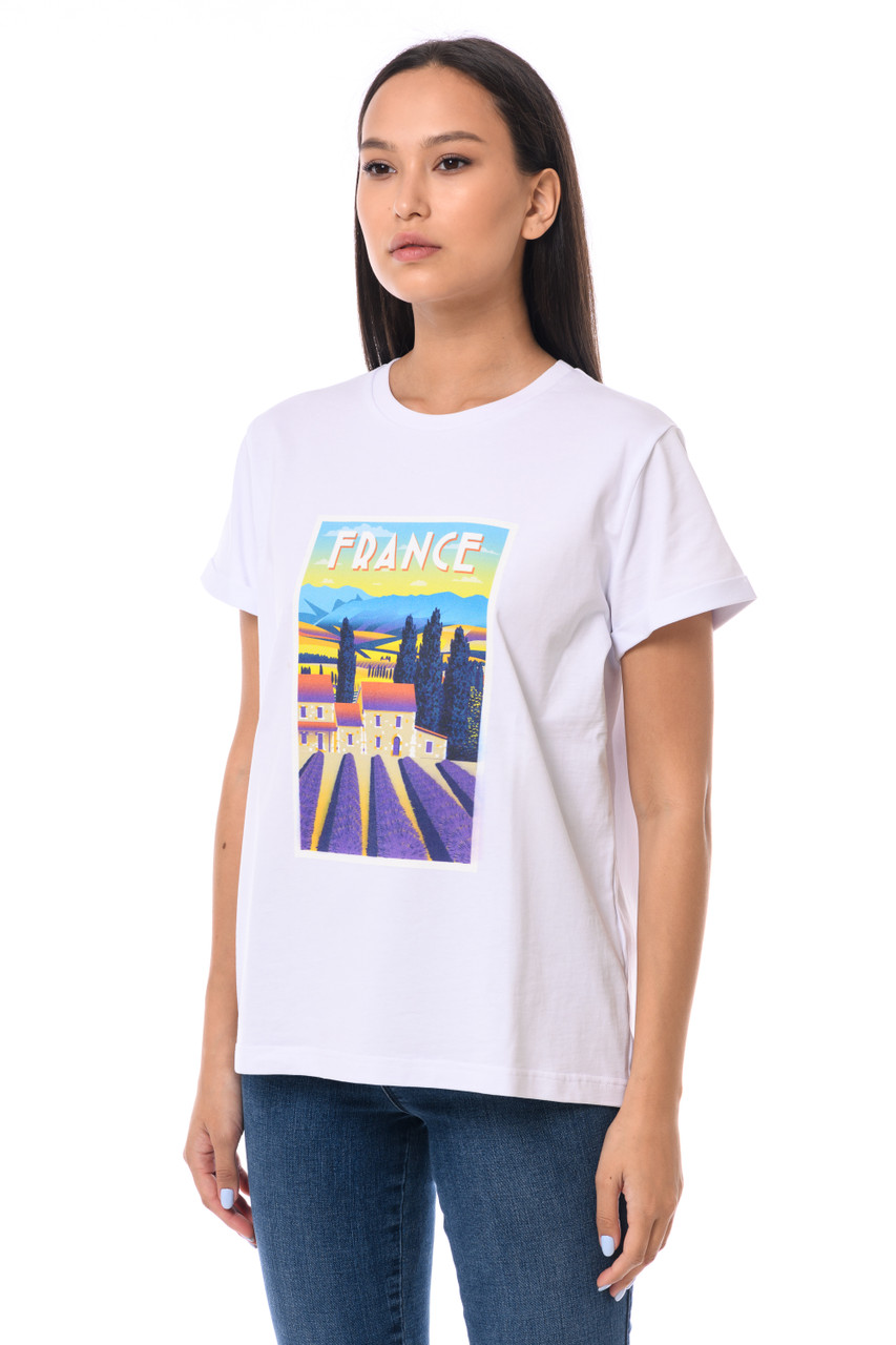 """FRANCE"" T-shirt with shiny inscription SEVEN LAB"