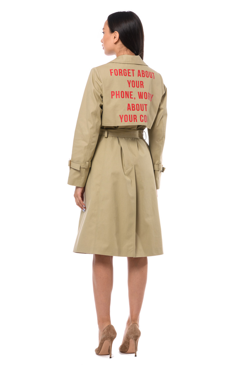 """FORGET ABOUT YOUR PHONE, WORRY ABOUT YOUR COAT"" Beige trench coat SEVEN LAB"
