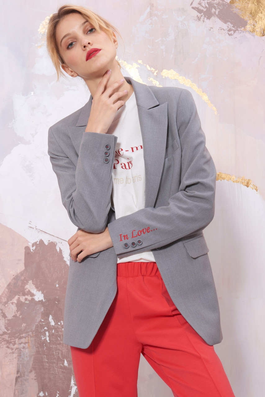 """IN LOVE ..."" Grey Blazer with embroidery by SEVEN LAB"