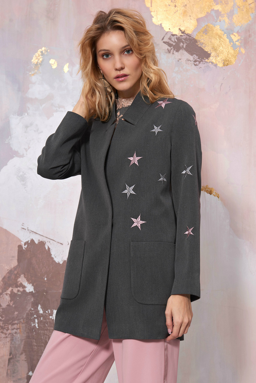 Grey Blazer with stars embroidery by SEVEN LAB
