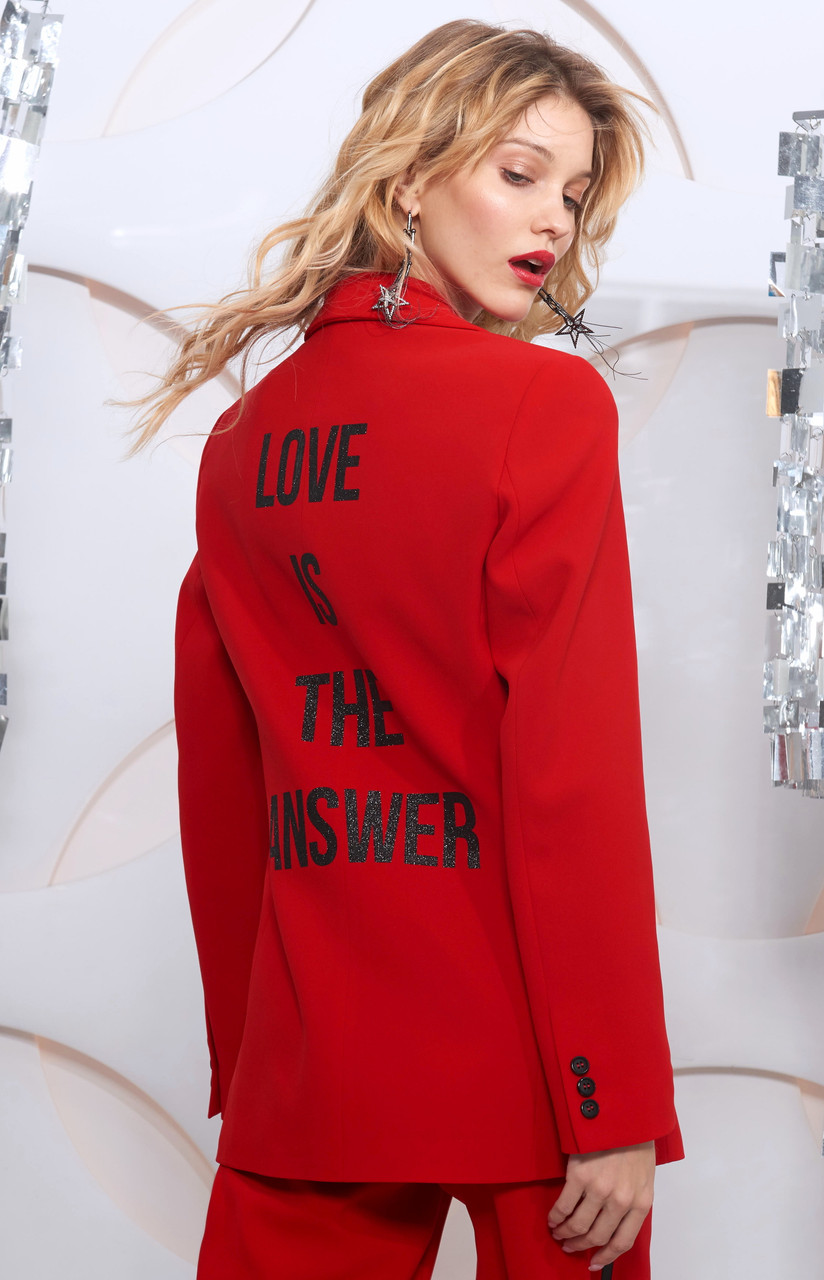 """""""LOVE IN THE ANSWER"""" Red Blazer SEVEN LAB"""