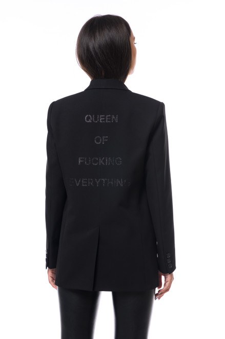 """QUEEN OF FUCKING EVERYTHING""  Black Blazer SEVEN LAB"