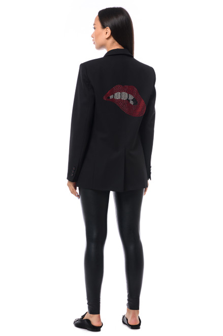 """LIPS RED AND SILVER CRYSTAL"" Black Blazer SEVEN LAB"