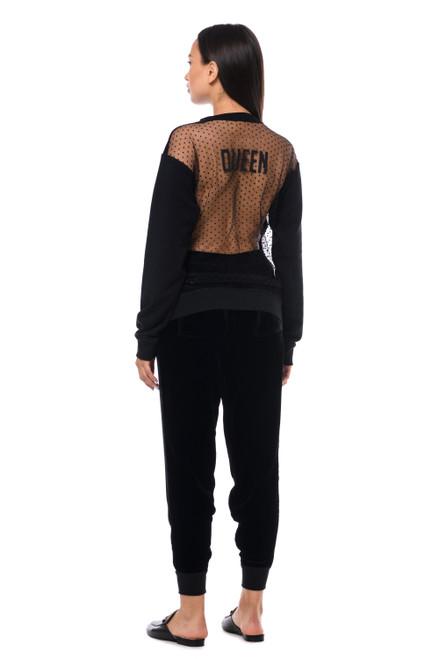 """""""QUEEN"""" Black sweatshirt with mesh SEVEN LAB"""