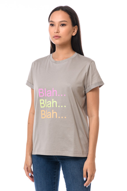 """BLAH...BLAH...BLAH""  T-shirt with shiny inscription  SEVEN LAB"