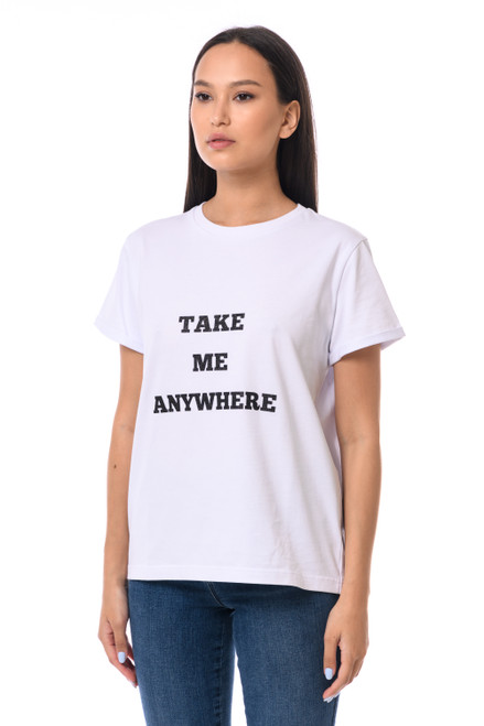 """TAKE ME ANYWHERE"" T-shirt with shiny inscription SEVEN LAB"