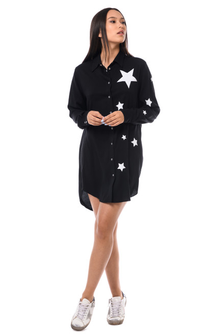 """ BIG WHITE SHINY STAR"" Black Shirt SEVEN LAB"