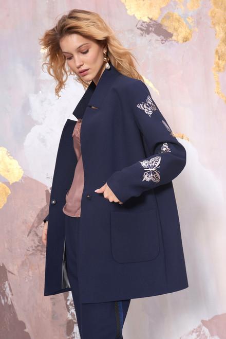 Dark blue Blazer with embroidered butterflie by SEVEN LAB