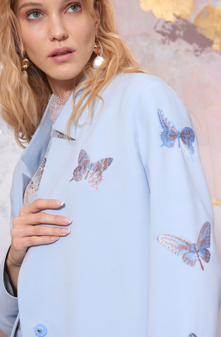 Blue Blazer with embroidered butterflie by SEVEN LAB