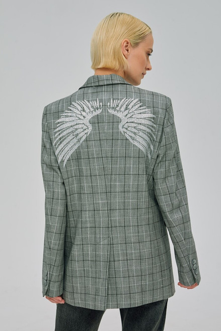 """""""SHINY WINGS ON THE BACK"""" Checkered Blazer  SEVEN LAB"""