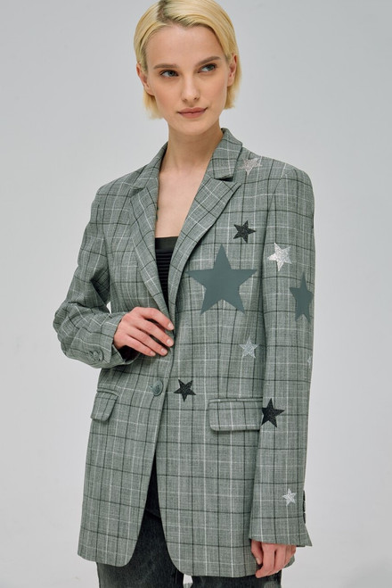 """STAR  APPLIQUE"" checkered blazer SEVEN LAB"