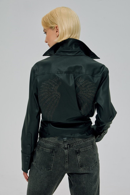 """SHINY WINGS"" Black jacket-shirt SEVEN LAB"