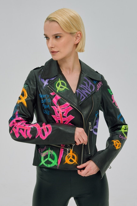 Black leather jacket with colored lettering SEVEN LAB78278
