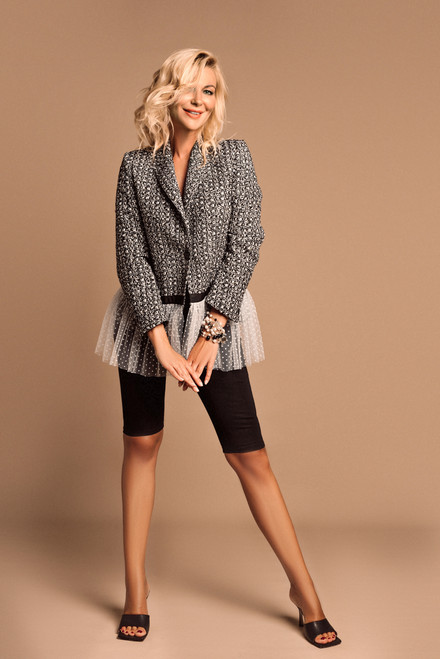 """""""QUEEN"""" Black and white tweed Blazer with mesh ruffle SEVENLAB"""
