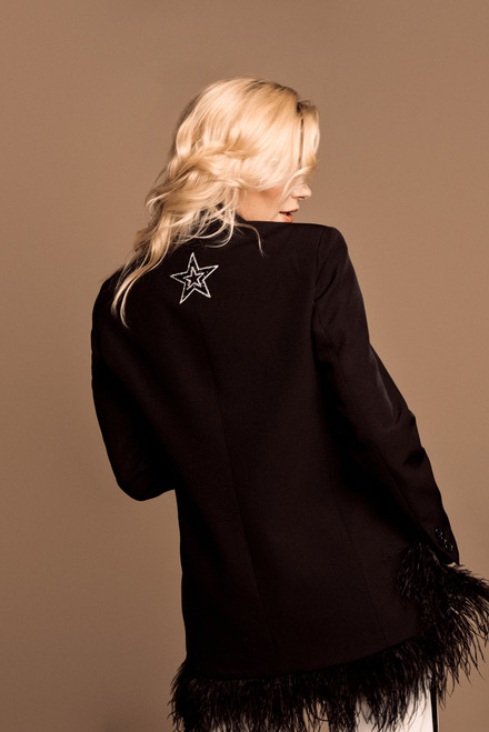 """""""DECORATION OF THE HEM WITH OSTRICH FEATHERS""""Black Blazer with a star on the back SEVEN LAB"""