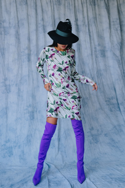 """""""SEMI-FITTED SILHOUETTE AND LONG SLEEVE"""" Mid-length dress SEVEN LAB"""