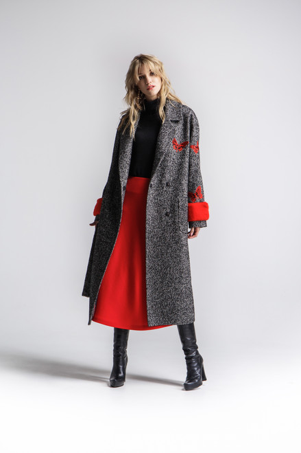 """""""BUTTERFLIES ON THE SLEEVE"""" Coat with fur cuffs SEVEN LAB"""