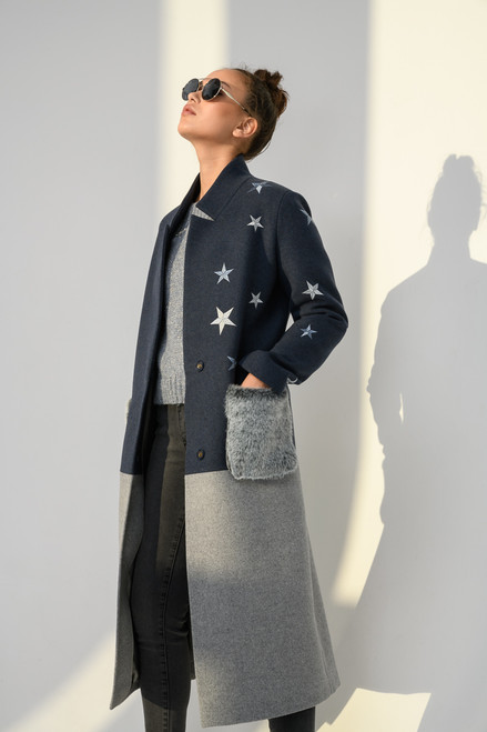 Two-tone coat with embroidery in the form of stars SEVEN LAB STUDIO