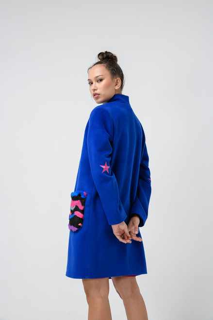 """""""EMBROIDERED STARS AT THE ELBOWS AND RAINBOW FUR POCKETS"""" Coat SEVEN LAB STUDIO"""