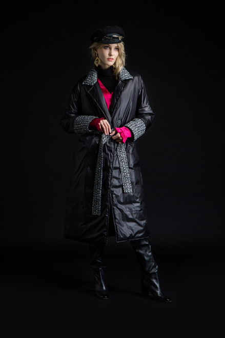 """""""BLACK QUILTED COAT WITH ONE LAYER OF INSULATION"""" Coat on the belt SEVEN LAB"""