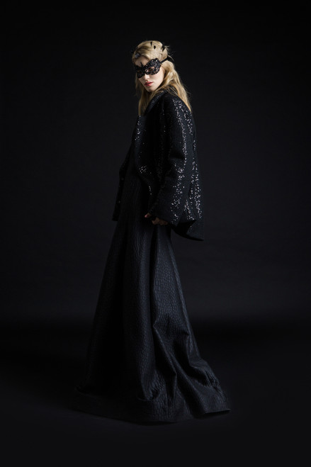 """""""BLACK WITH SEQUINS"""" Short coat-jacket with insulation"""