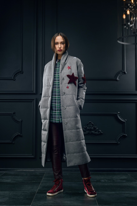 """""""APPLICATION IN THE FORM OF STARS MADE OF FUR"""" Quilted coat with synthetic insulation SEVEN LAB"""