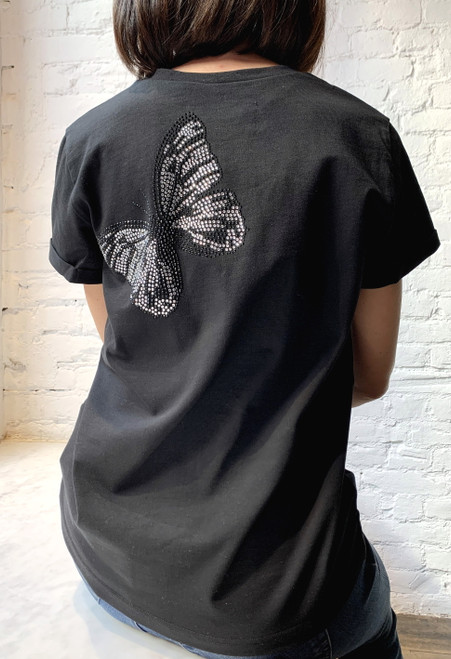 """""""BUTTERFLY MADE OF RHINESTONES"""" T-shirt with an image on the back SEVEN LAB"""