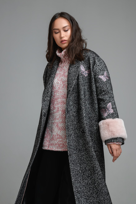 """""""FUR CUFFS"""" Coat with butterfly embroidery SEVEN LAB"""