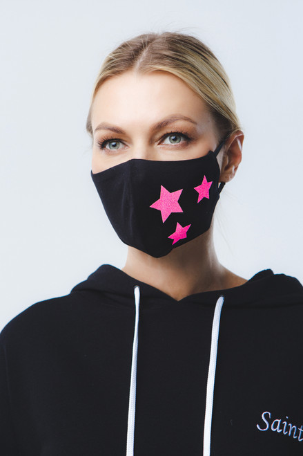 Pink Stars  mask in black