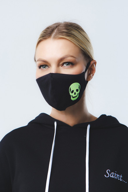 Neon Skull mask in black