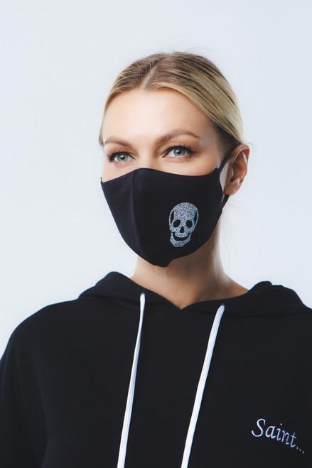 Silver mask in black