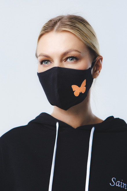""" Orange butterfly"" mask in black"