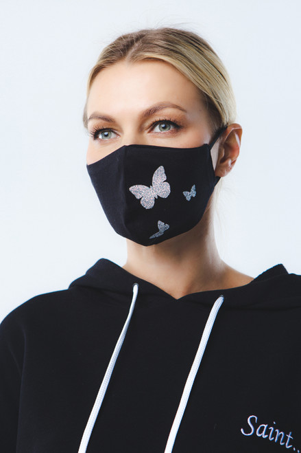 """Silver Butterfly"" mask in black"
