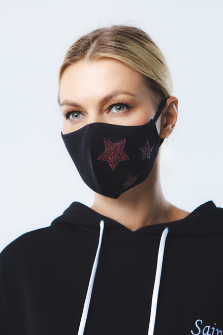Red Stars mask in black