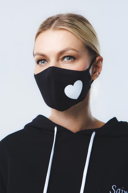 """""""White heart"""" mask in black"""