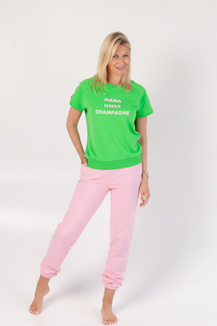 """Green - Pink track suit """"MAMA NEEDS CHAMPAGNE"""""""