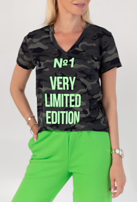 Camouflage T-shirt with Green  print