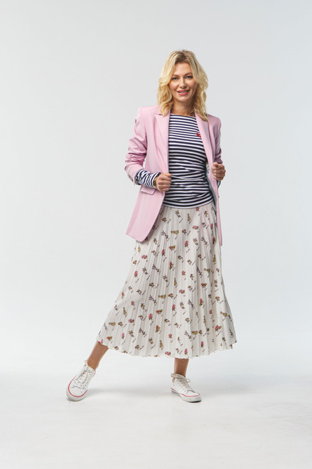Pleated beige skirt with flowers