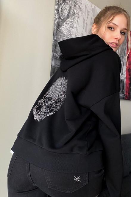 Black hoodie with Swarovski Crystal Skull
